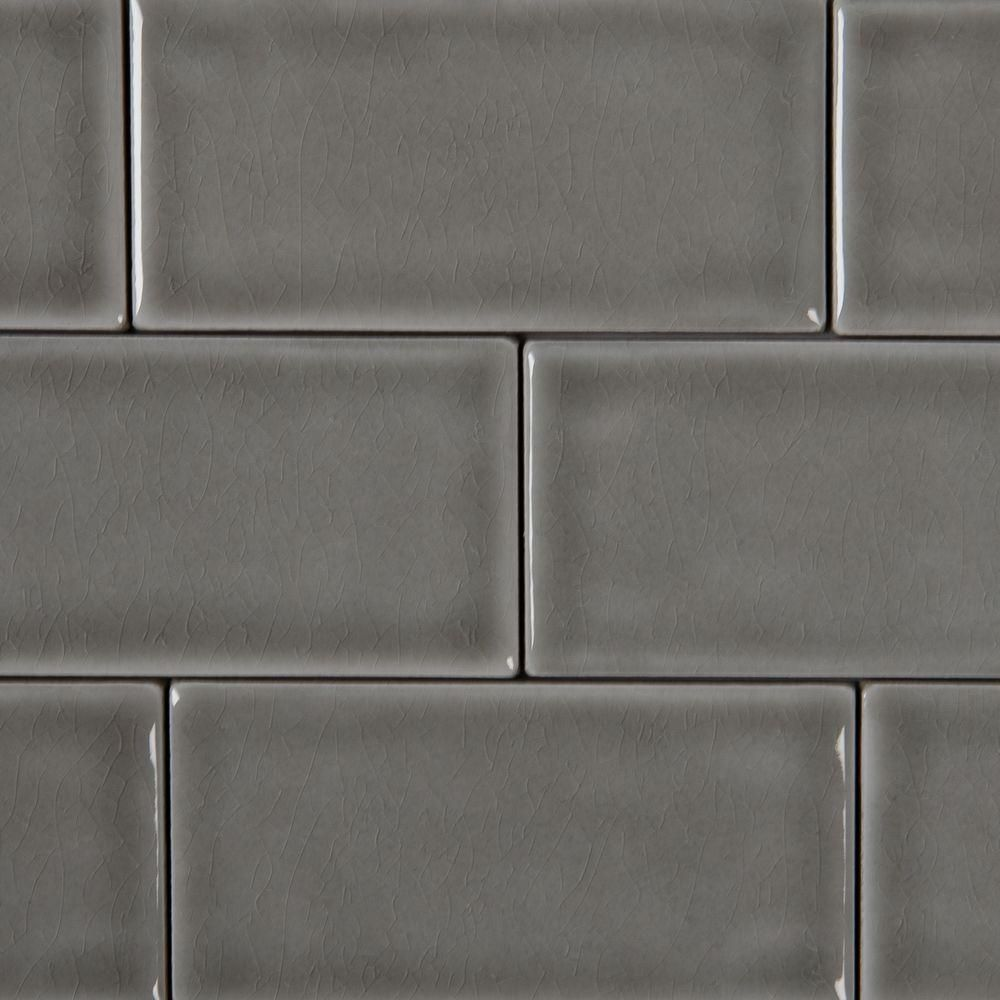MSI Dove Gray 3 in. x 6 in. Handcrafted Glazed Ceramic Wall Tile (1 ...