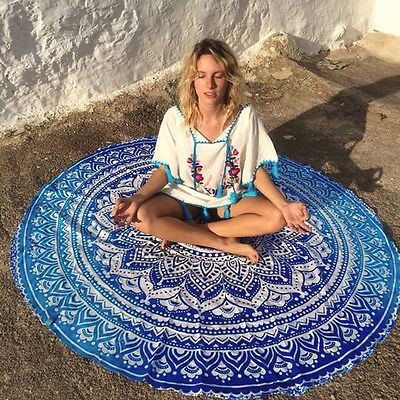 pas cher indien ronde mandala tapisserie tenture jeter serviette plage yo ga tapis d cor boho. Black Bedroom Furniture Sets. Home Design Ideas