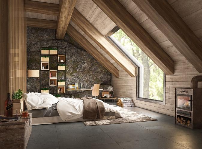 Bedroom 3d Model Max 1 With Images Loft Bedroom Decor Bedroom