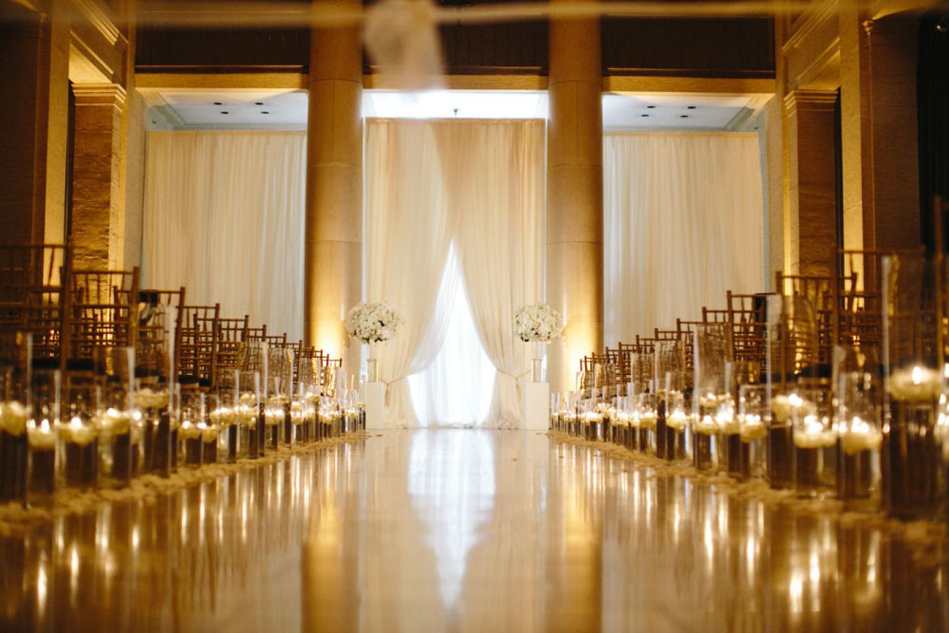 Gold Elegant wedding ceremony with lots of candles | fabmood.com