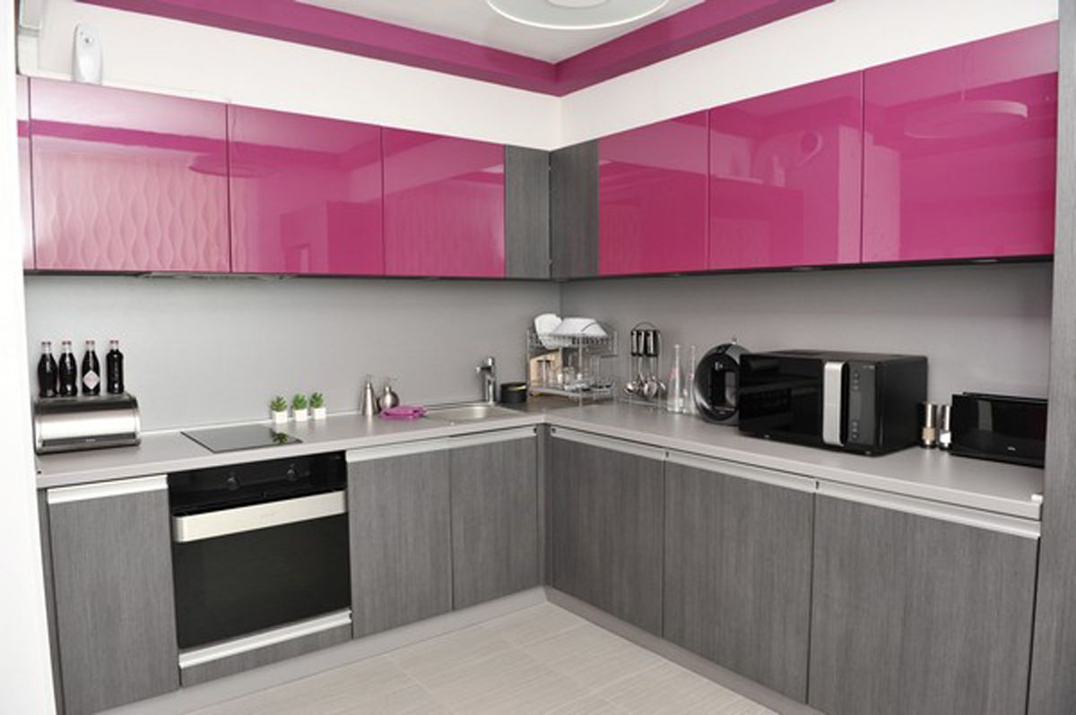 purple kitchen apartment. minimalist kitchen in small apartment Petya Gancheva  Interior