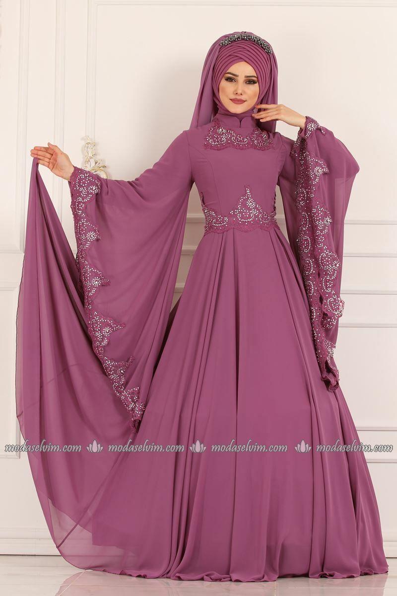 Moda Selvim Kollari Pelerinli Abiye Alm52729 Gul Kurusu Elbiseler Elbise Kiyafet