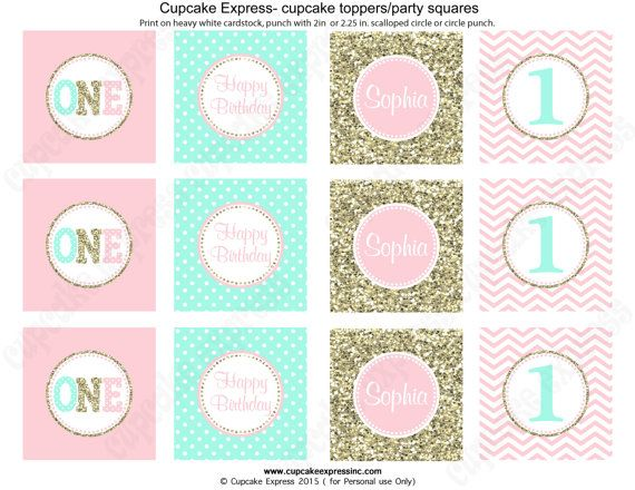 One First Birthday girl coral pink mint gold PRINTABLE Cupcake