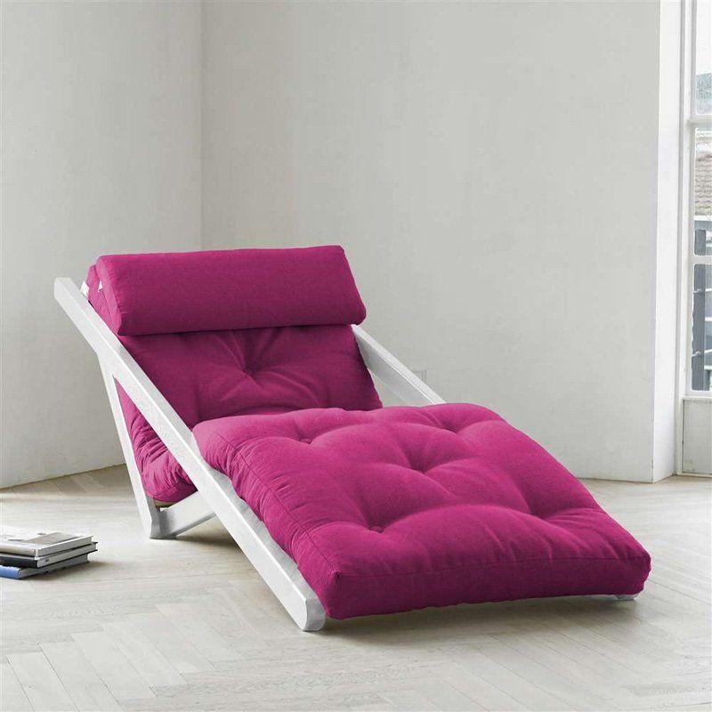 Fresh Futon Figo White Indoor Chaise Lounge Purple - FIGOWH008 ...