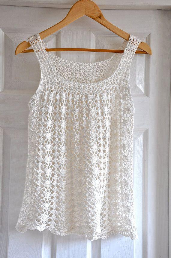 Lacy Crochet Top Tunic Summer Sleeveless Ladies Ivory Beach - MADE ...