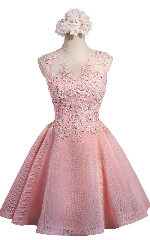 b7c19ada3de Appliques Crystals Short Pink Tulle Ball Gown Sleeveless Lace Open Back Homecoming  Dress