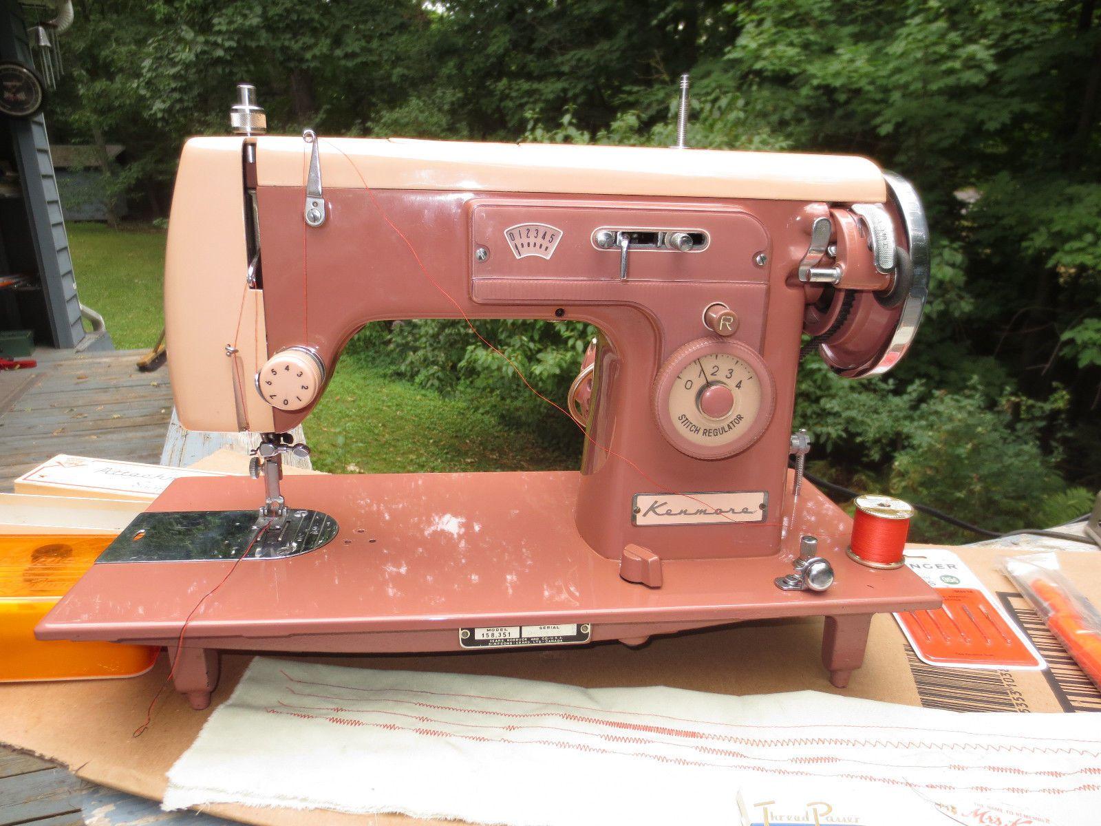 Kenmore Sewing Machine Model 35 Rose Pink Mahogany Cabinet ...