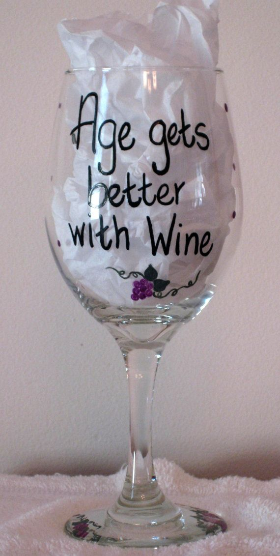 Hand Painted Wine Glass By SarahBrasse On Etsy 1995
