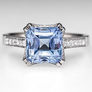 Square Light Blue Sapphire Engagement Ring w/ Diamonds 18K White Gold - EraGem