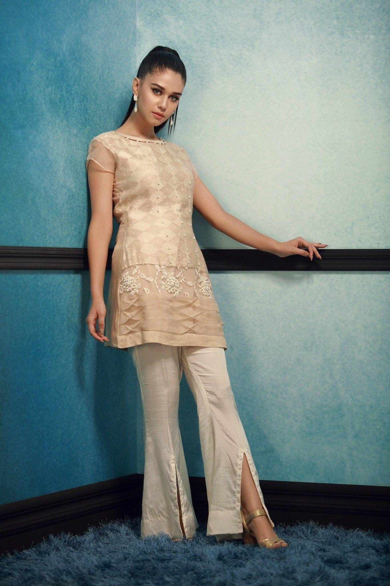 Light Beige 3 Piece Masuri Net Designer Pakistani Ready to Wear Pret ...