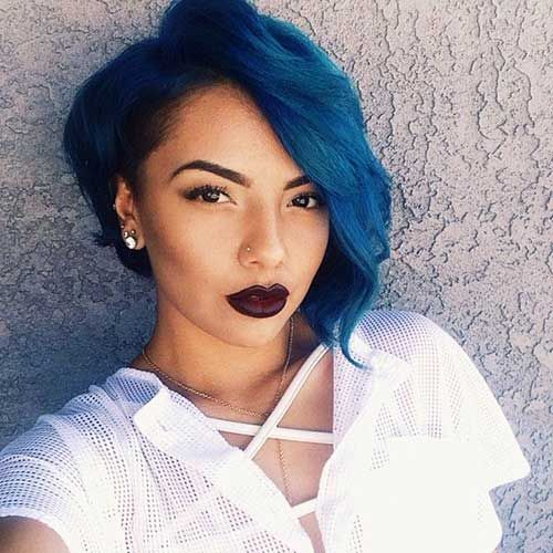 Bob Hairstyles For Black Women 10 short bobs hairstyles for black women Blue Asymmetrical Bob Hairstyle For Black Women Picture