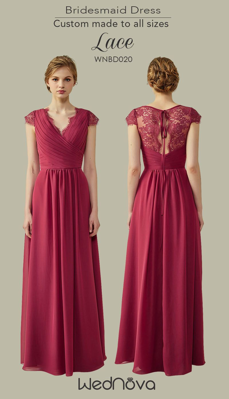 Fall wediing dress bridesmaid dresses lace with cap sleeves