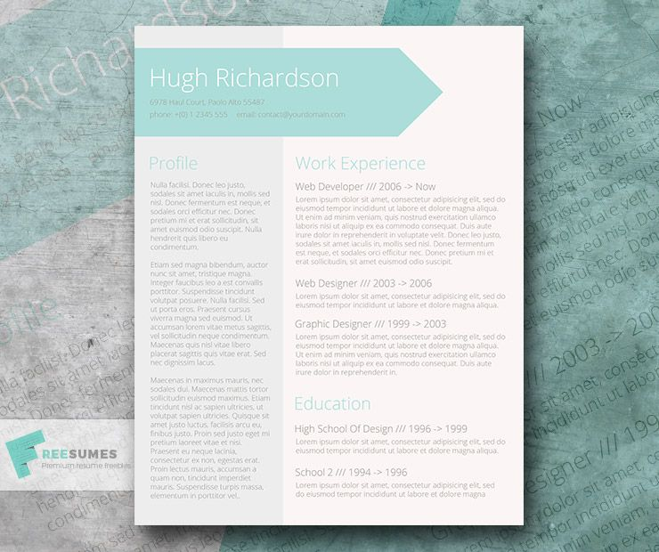 free turquoise resume cv template