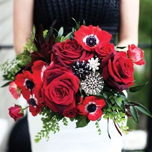 Black-White-Red Bouquet w/A Touch of Green / RBW