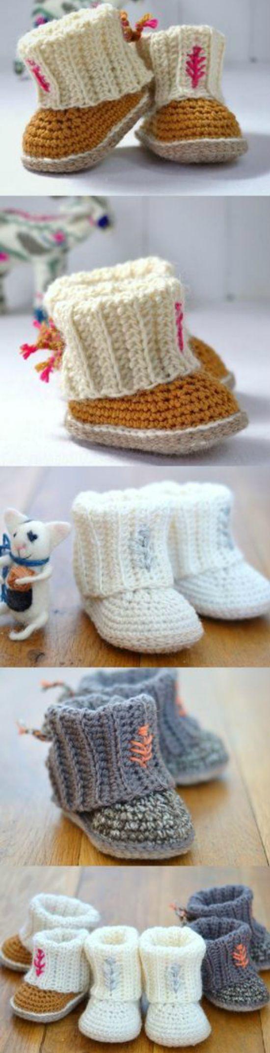 Crochet Ugg Booties Pattern Free Easy Video Tutorial | Stricken und ...