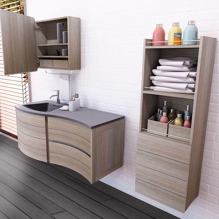 Ensemble meuble vasque ondulé + 2 armoires de toilette Longueur ...
