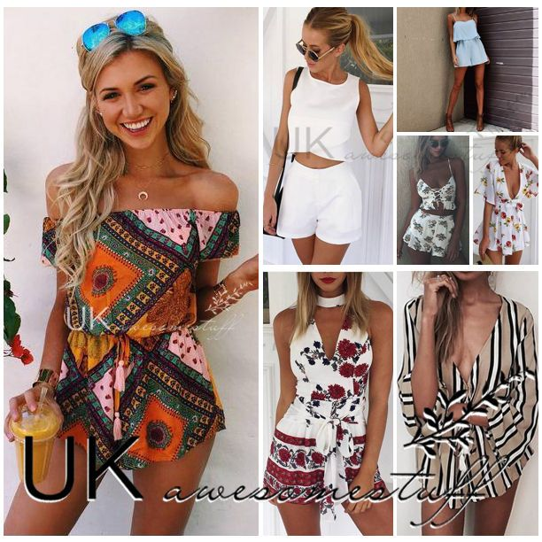 Details about UK Womens Holiday Playsuit Romper Ladies Jumpsuit ...