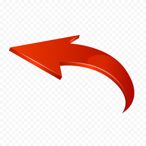 3d Red Curved Arrow Graphic Point Left Arrows Graphic Curved Arrow Graphic