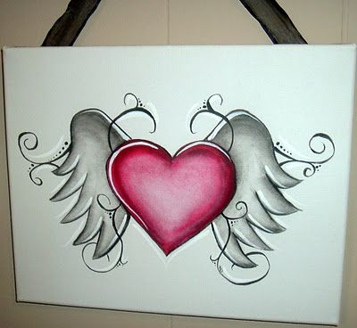 LoVE....PiNK heart and angel wings...... | Heart drawing ...