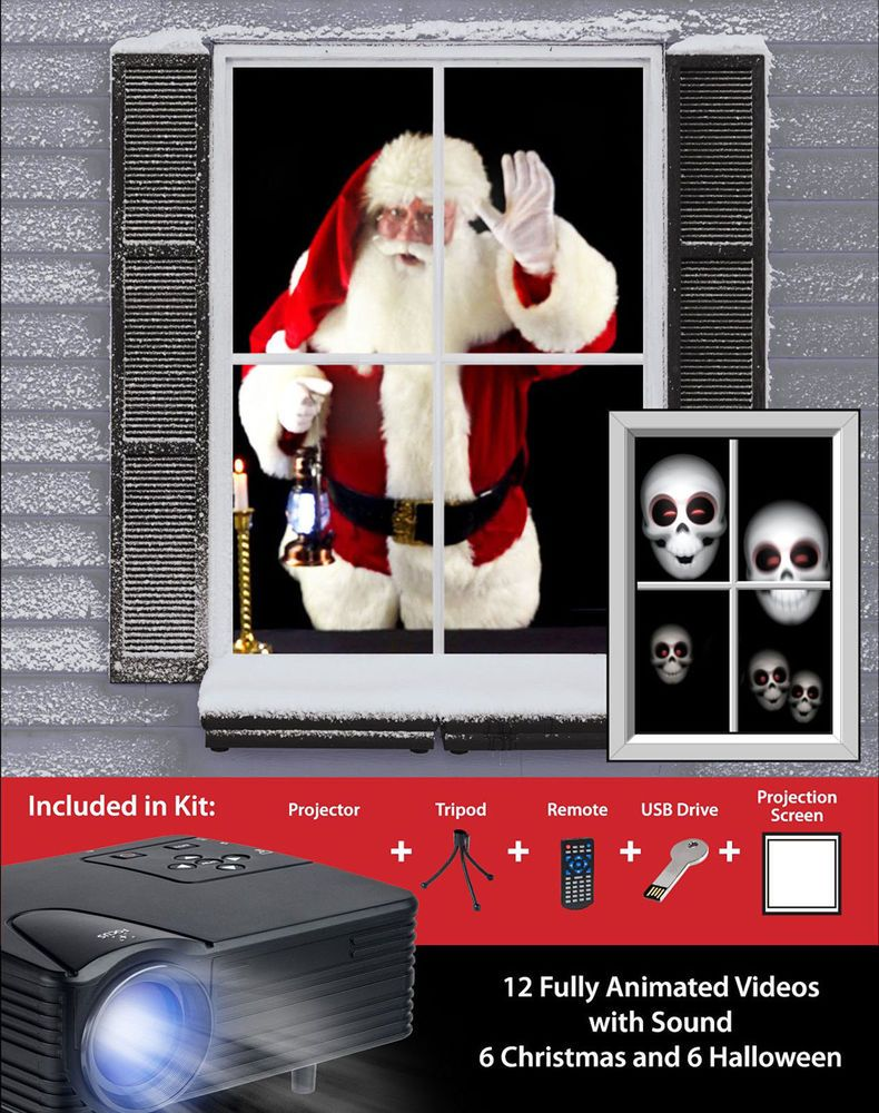 Christmas Projector Animated Window Kit Holiday Decor Xmas