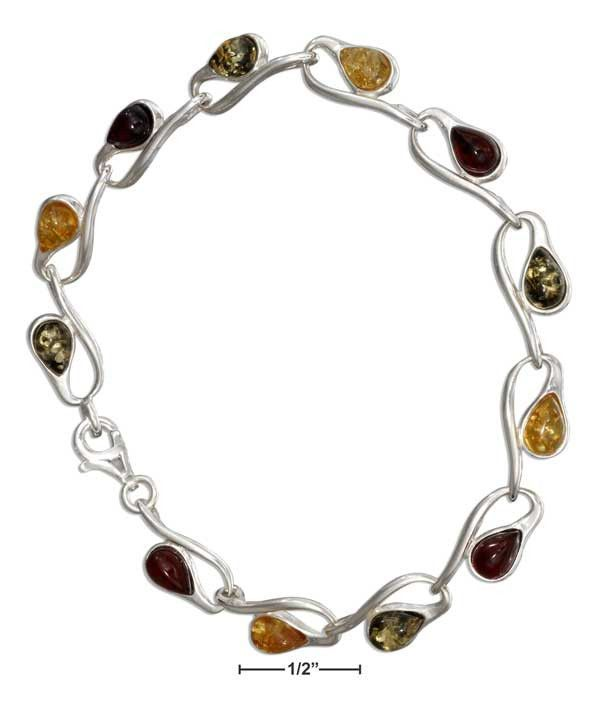 "Sterling Silver 7"" Loop And Multicolor Amber Link Bracelet"