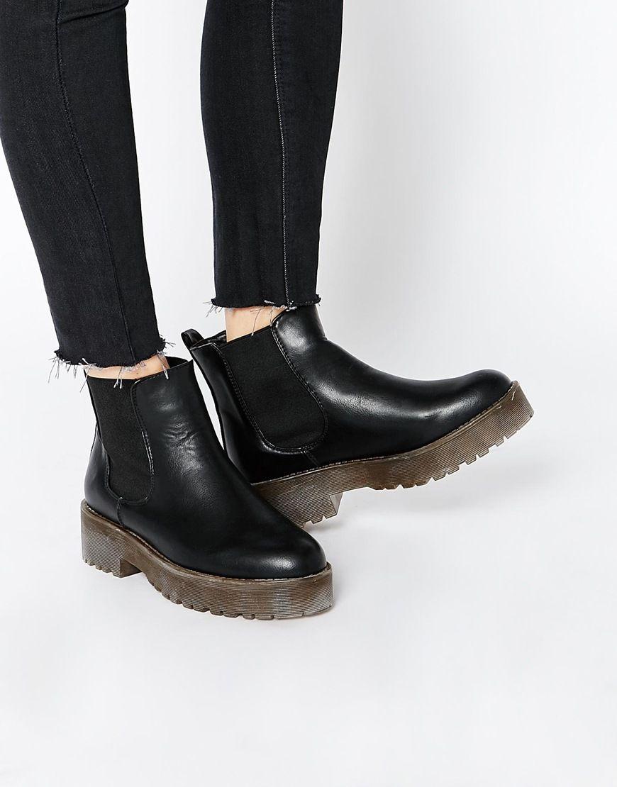 Glamorous Black Flatform Chelsea Boots at asos.com