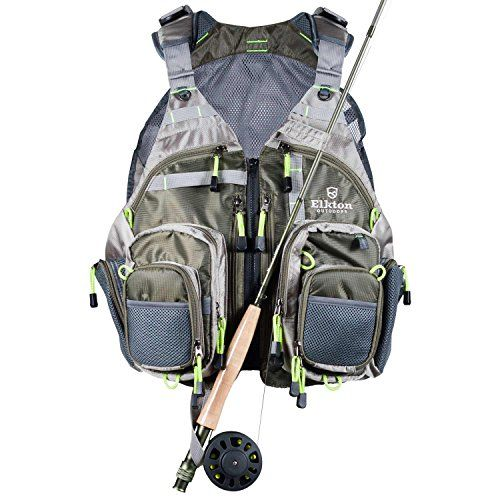 Elkton outdoors lightweight universal fit fly fishing vest for Fishing backpack with rod holder