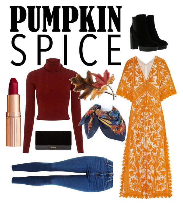 """""""Pumpkin Spice Automn Look"""" by mariam-selim ❤ liked on Polyvore featuring Topshop, A.L.C., Anne Klein, Hermès, Tory Burch, Hogan and Balmain"""