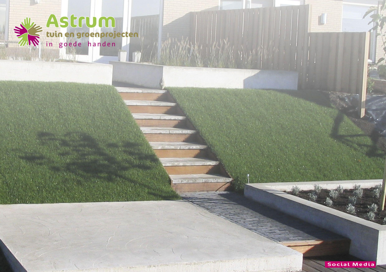 Moderne tuin beton terras talud trap tuin pinterest for Trap buiten hout