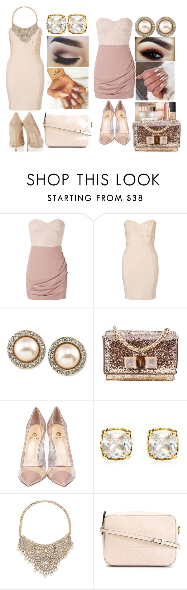 """MoonLight"" by meyarose31 on Polyvore featuring Alice + Olivia, Lipsy, Carolee, Salvatore Ferragamo, Semilla, Juicy Couture, Bebe, castro and Lanvin"