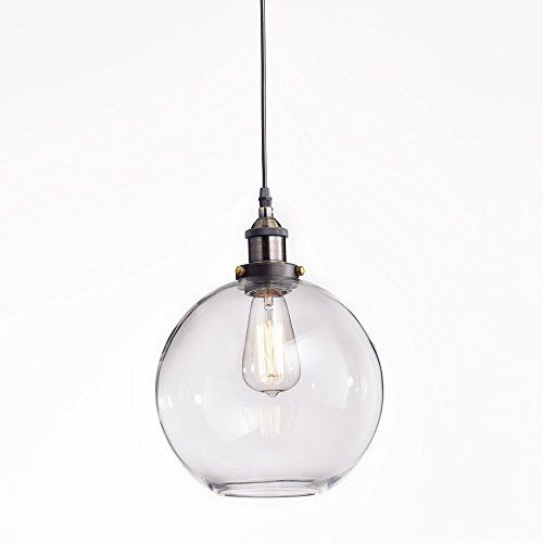 Truelite Industrial Clear Oval Glass Shade Pendant Light Opening Hanging  Lamp