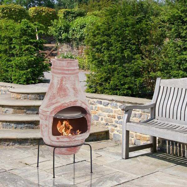 Clay Outdoor Ovens : Clay chiminea with pizza oven cm main product photo