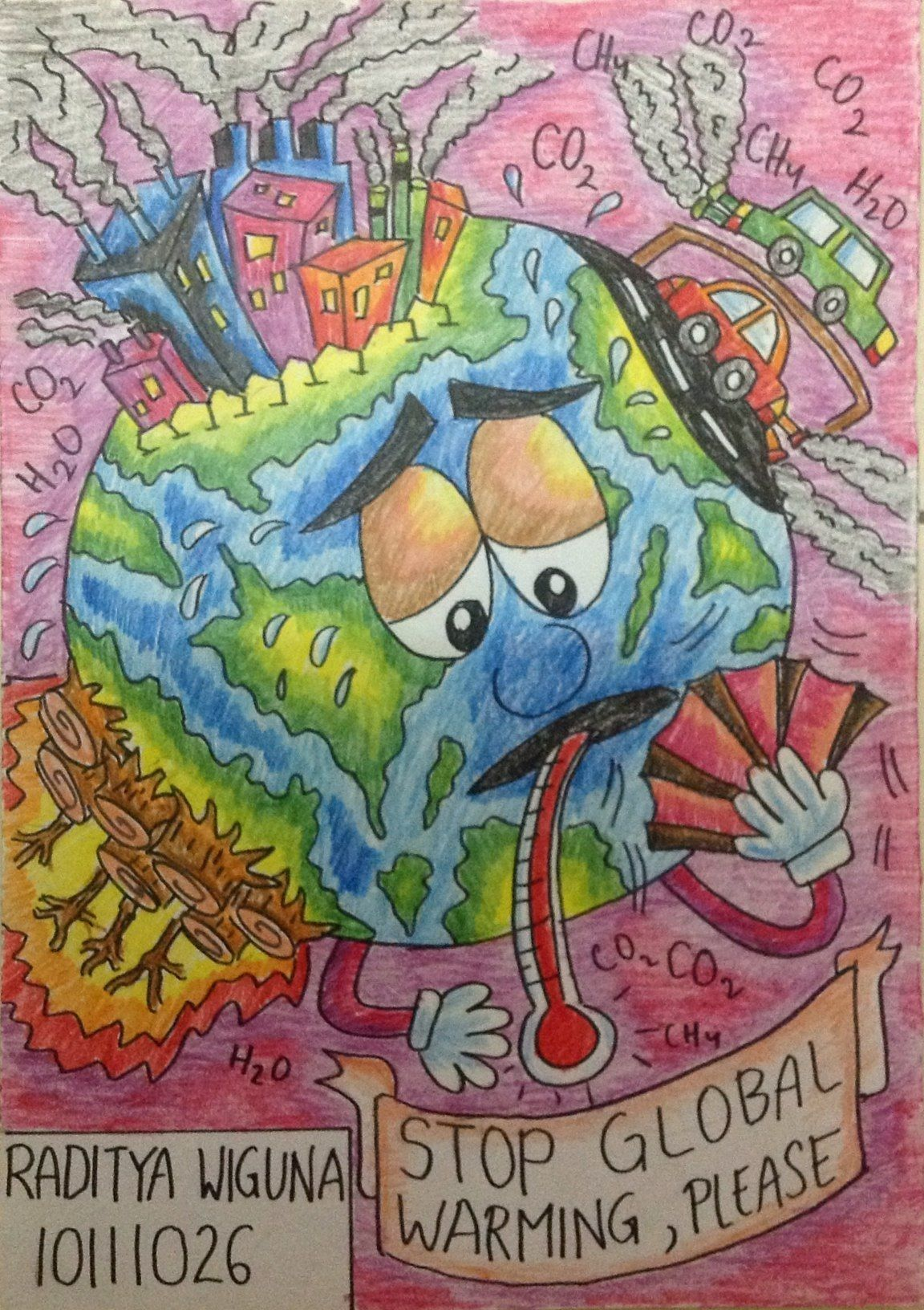 Gambar Poster Global Warming : gambar, poster, global, warming, Fahrul, Simpan, Earth, Drawing,, Water, Poster, Drawings