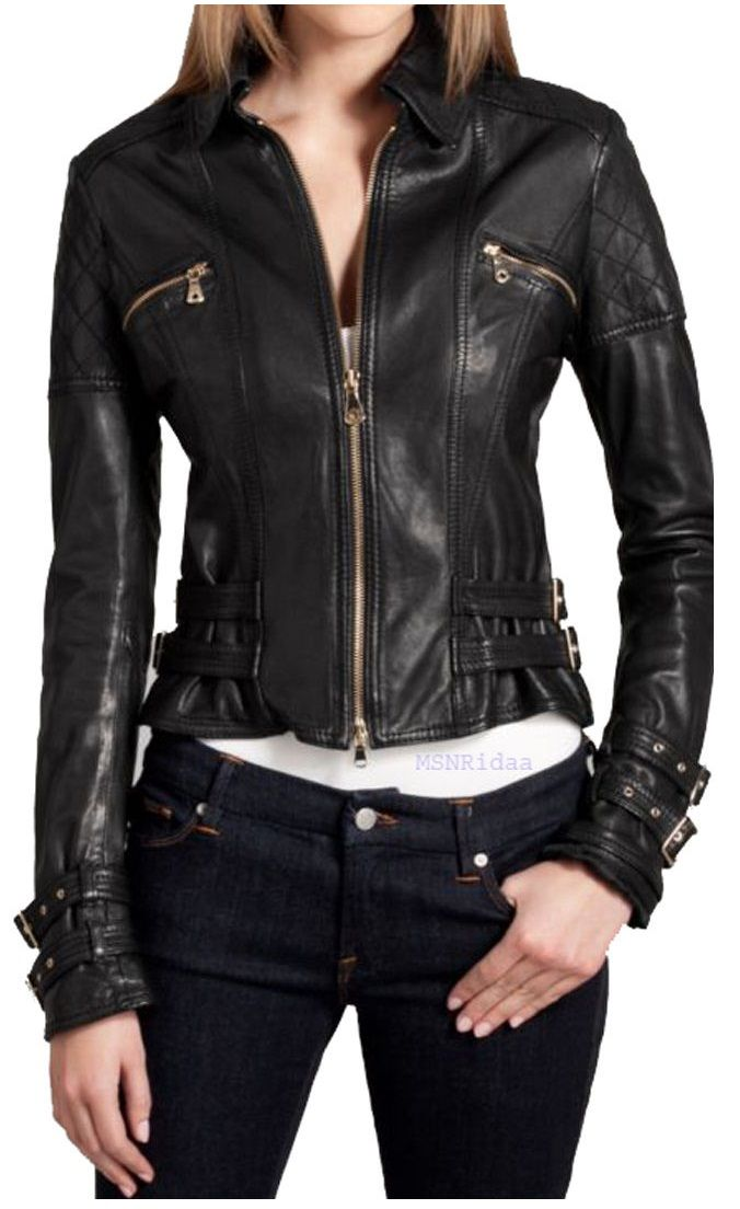 Women Biker Leather Jacket, Black R | Biker leather, Real leather ...