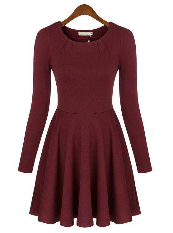 8aa97318e Vestido plisado cuello redondo manga larga-rojo 0.00