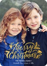 gilded greenery gold foil flat holiday photo cards the stationery