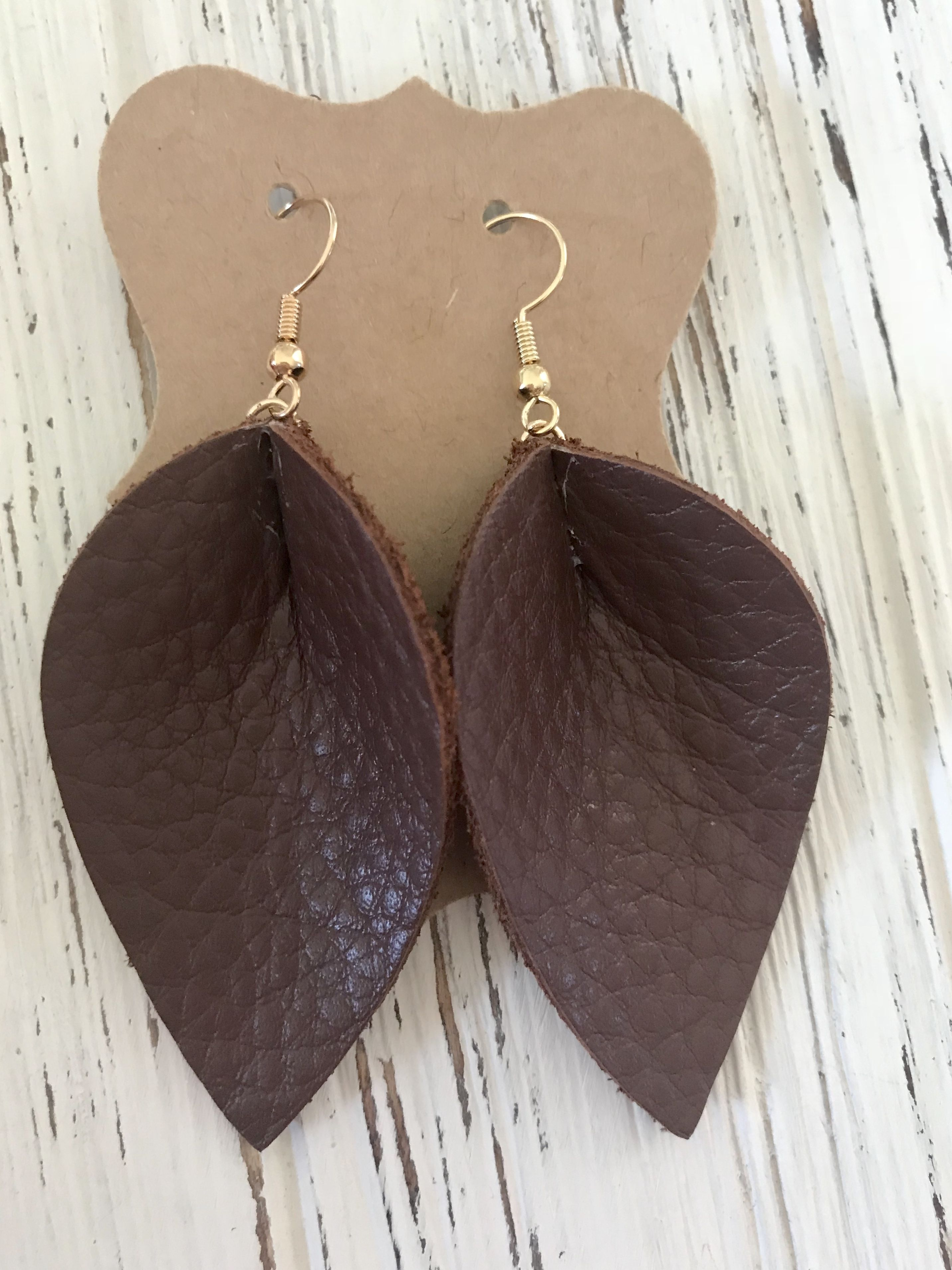 Joanna Gaines Inspired Brown Petal Leather Earrings