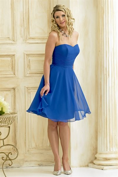 Picture Of Short Chiffon Bridesmaid Dresses Royal Blue Dress Gown