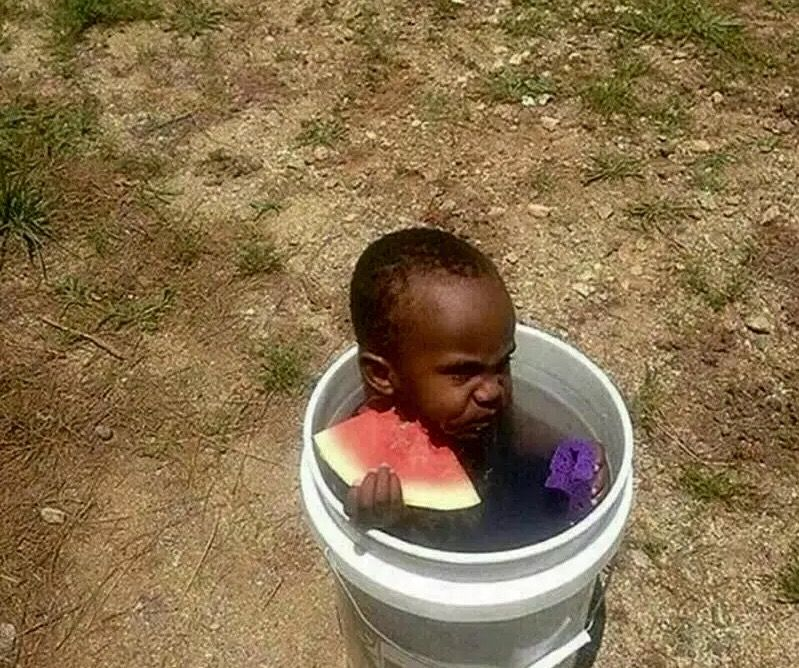 Black ghetto kid child watermelon bath tub bucket water sponge meme ...