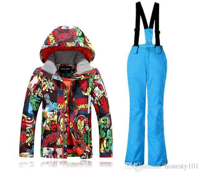 3811e530c 2017 Gsou Snow New Fashion Ski Suits Children Boy Print Graffiti Ski ...