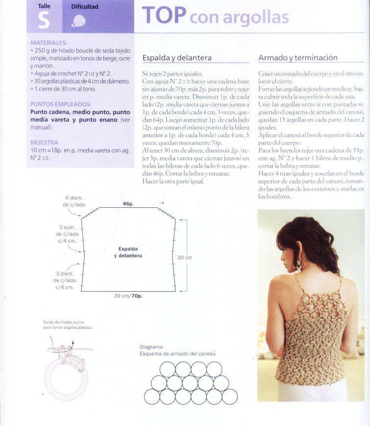 Top con argollas de ganchillo patron | patrones | Pinterest | Crochet