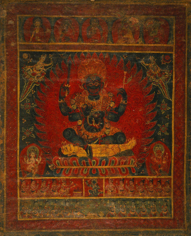 Mahakala Bhairava With Buddhas, Ganesha, Karttikeya
