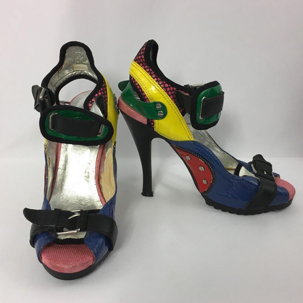 Steve Madden Heels Size 7.5 M Bukled Bright Multi-Color Sandal Funky Patent  #SteveMadden #Sandals