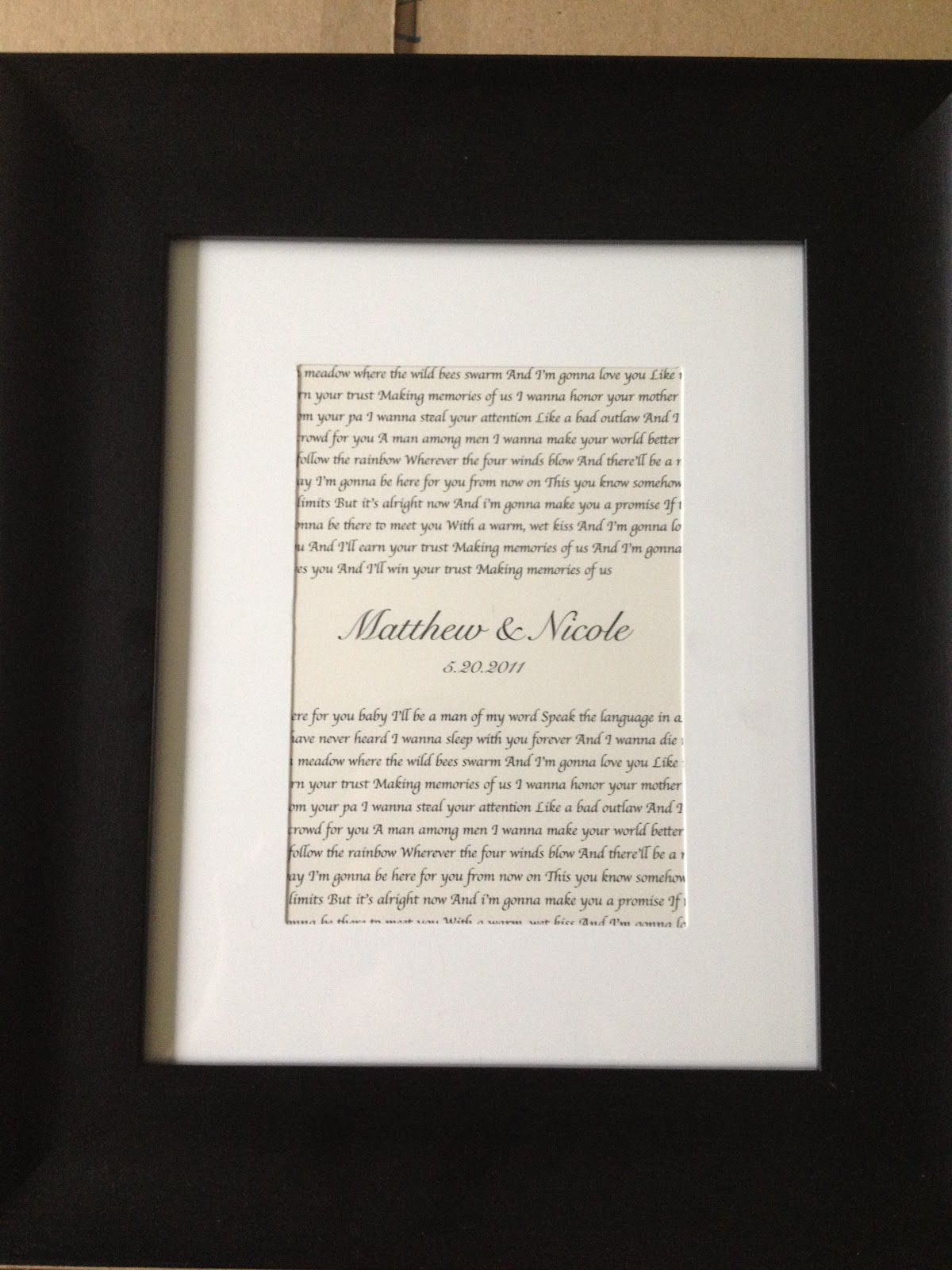 Wedding Song Lyrics Framed- ironically this is mine& Jeremy\'s ...
