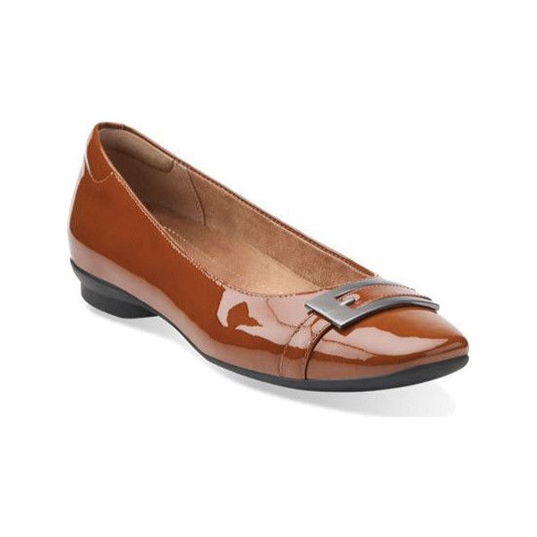 Women's Clarks Candra Glare Flat - Cognac Patent Leather Casual ($95) ❤  liked on