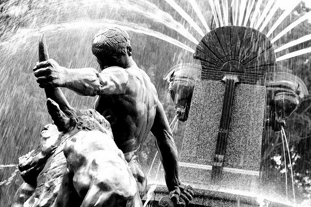 Theseus slaying a Minotaur    The Archibald Fountain, properly called the J.F. Archibald Memorial Fountain, widely regarded as the finest public fountain in Australia, is located in Hyde Park, in central Sydney, New South Wales