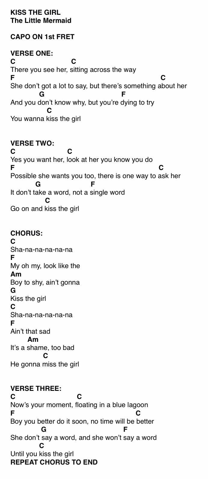 Kiss the girl the little mermaid music classroom pinterest kiss the girl the little mermaid ukulele tabsguitar chord hexwebz Choice Image