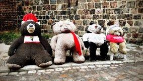 FATZKEN - Im Hintergund der letzte Schnee des Frühlings, begrüßen diese Bären die Besucher im Nikolaiviertel. Aufgenommen mit einem iPhone 4S und der App PictureShow.