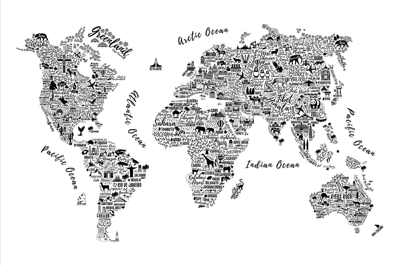 Black and White Typography Map Wall Mural in 2019 World
