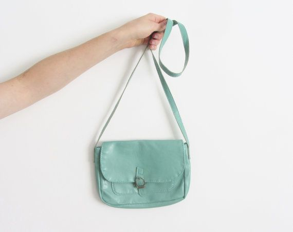 mint green satchel purse . pastel cross body shoulder bag by DOTTO